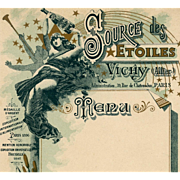 SALE Art Nouveau French Menu Advertisement for Vichy Mineral Water Nude Woman and Stars