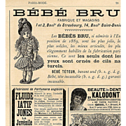 1890 Paris Mode Page Bébé Bru Doll Advertisements Clocks Clowns