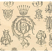 SOLD Original 1890 Paris Mode Page of Letters and Crowns: Monograms for Lingerie