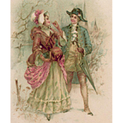 Antique European Postcard Illustration of Romantic 18th Century Couple
