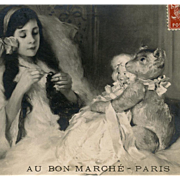 SOLD Bon Marche Department Store Advertising Postcard of Girl in Bed with Doll and Bear