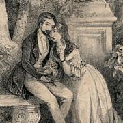 SALE No. 2 French Bibliophile Postcard Romantic Storybook Scene