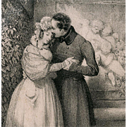 SALE No. 3 French Bibliophile Postcard Romantic Storybook Engraving