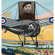 SOLD 1934 Postcard Airplane Photo Frame of French Boy with Beret