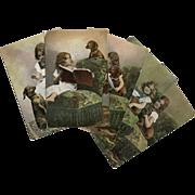 Rare German Postcard Series of Dachshund Reading Book, Begging