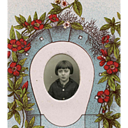 Vintage French Postcard Lucky Horseshoe Photo Frame of School Girl's Portrait