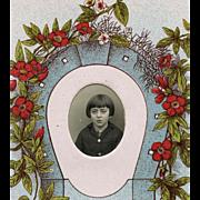 SALE Vintage French Postcard Lucky Horseshoe Photo Frame of School Girl's Portrait