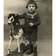 Antique French Postcard Real Photo Portrait of Sailor Boy with Wooden Horse