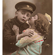 Young Soldier and His Sweetheart Antique French Real Photo Postcard