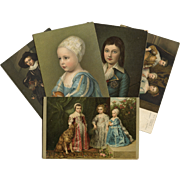 5 European Chromolithographic Art Reproduction Postcards of Children