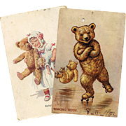 2 Well Loved Antique Illustrated Teddy Bear Postcards