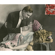 SOLD Romantic Couple and Tiger Skin Rare Antique French Real Photo Postcard