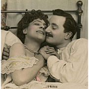 Romantic Edwardian Couple in Bed 1907 French Postcard