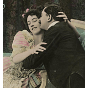 SALE Kissing Edwardian Couple Antique French Postcard