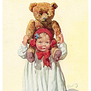 Girl with Huge Teddy Bear on her Shoulders Artist Signed Antique European Postcard