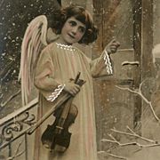 Angel with Violin Antique European Hand-Detailed Christmas Postcard Unused