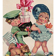 SOLD 1933 Illustrated European Postcard of Bellhop Carrying Girl's Packages