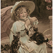 1908 French German Postcard of A.J. Elsley's Girl with Kittens