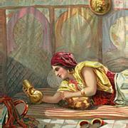 SALE Moroccan Arab in the Harem Antique European Illustrated Orientalist Art Postcard Paris ..