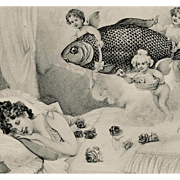SOLD Unusual Design of Victorian Woman Fish Dream Cherubs Antique French April 1Postcard