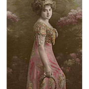 SALE French Happy New Year Postcard from 1912 Edwardian Lady in Pink