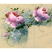 Plastic Celluloid French Postcard with Handpainted Roses