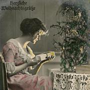 1919 German Christmas Postcard Color Tinted by Hand Herzliche Weihnachtsgrüße