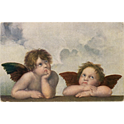 SOLD German Printed Lithograph Postcard of Raphael's Cherubim from the Sistine Madonna