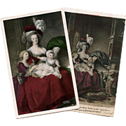 SALE 2 French Postcards of Marie Antoinette with her Children Lebrun-Vigée Portraits