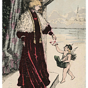 Cupid Delivers Letter to Edwardian Lady Artist Signed French Advertising Postcard