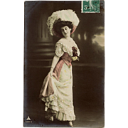 SALE 1910 Franked Edwardian Fashion Glamour Lady Real Photo French Postcard
