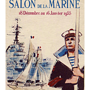 SALE Retro 1955 Paris Maritime Museum Advertising Postcard with Sailor and Ships