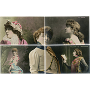 SALE Sarah Bernhardt 10 Piece Puzzle Series Real Photo Postcards Hand Painted Unused Circa 190