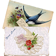 SALE Two Antique French Bird Postcards: Lace, Ribbon, Die-Cut, Hand-Painted