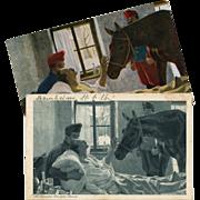 SALE 2 Antique European Artist Postcards: Max Kurzweil Horse Visiting Sick Soldier