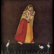SALE Hindu Art from British Museum: Girl Walking in a Starry Night Unused Postcard