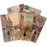SOLD 5 Antique French Postcards of Paris Artist Signed Georges Stein