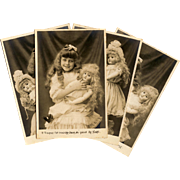Complete Unused Series of 10 Antique French Postcards Edwardian Girl and her Poupée Bisque ..