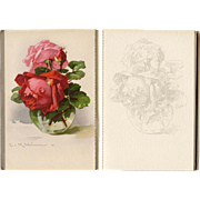 Catharina Klein Fleurs de France Postcard Album Designed for Art Students with Sketches to ...