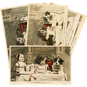 Child's Dinner Party with Doll and Dog Handpainted Real Photo French Postcard Series of 5
