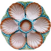 French Faience Oyster Plate Majolica Sarreguemines 1860