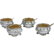 French Vermeil Sterling Silver Set 4 Open Salt Cellar with Spoon Cut Crystal G Veyrat ...