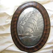 SOLD Antique Tiger Stripe Frame * Curved Glass