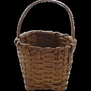 Antique Split Wood Basket With Bent Wood Handle
