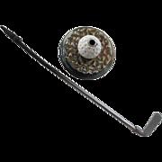 Antique Cast Iron Fire Poker With Golf Ball & Golf Club Motif