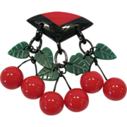 SALE PENDING Deco Style French Designed Dangling Cherry Pin