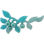 Blueberry Branch Pin By French Designer Lea Stein