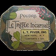 1920's Powder Box By L.T Piver Co. Paris France Le Trefle Incarnat
