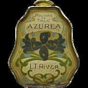 Art Nouveau Tin Floral Decorated Powder Talic Container By L.T. Piver Paris France