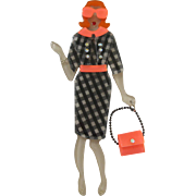 SALE PENDING Cute Handmade And Layered French Lady With Swinging Purse & Sunglasses Pin